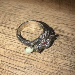 Jewelry - Dragon Sterling Silver Jeweled Ring Size 10.5